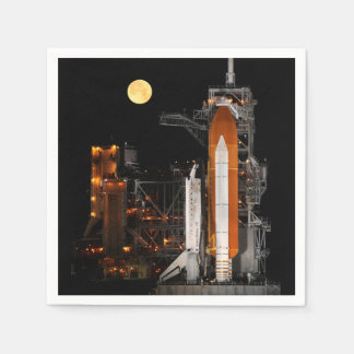 Space Shuttle Discovery and Moon Paper Napkin