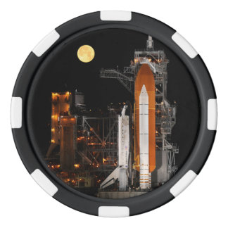 Space Shuttle Discovery and Moon Poker Chips