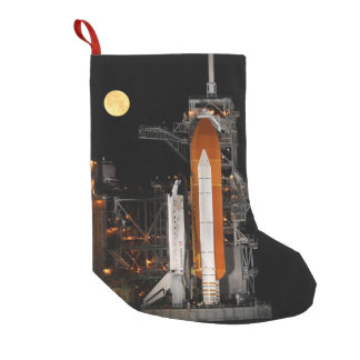 Space Shuttle Discovery and Moon Small Christmas Stocking