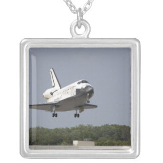 Space Shuttle Discovery approaches landing 2 Silver Plated Necklace