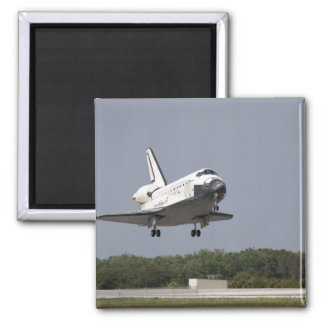 Space Shuttle Discovery approaches landing 2 Square Magnet