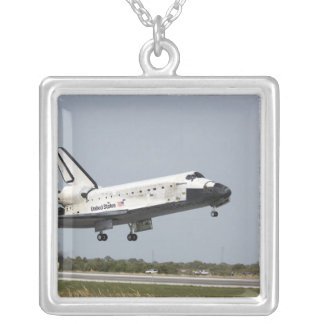 Space Shuttle Discovery approaches landing 3 Square Pendant Necklace