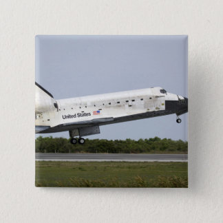 Space Shuttle Discovery approaches landing 4 15 Cm Square Badge