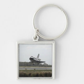 Space Shuttle Discovery approaches landing Silver-Colored Square Key Ring