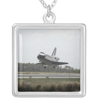 Space Shuttle Discovery approaches landing Silver Plated Necklace