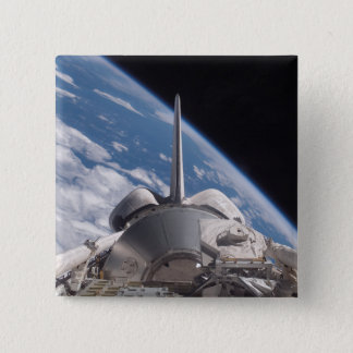 Space Shuttle Discovery backdropped by Earth 15 Cm Square Badge