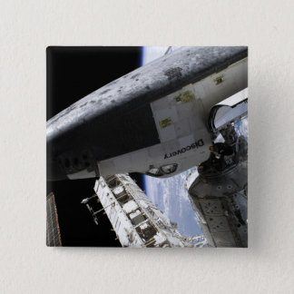 Space Shuttle Discovery docked 15 Cm Square Badge