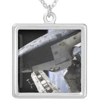 Space Shuttle Discovery docked Silver Plated Necklace