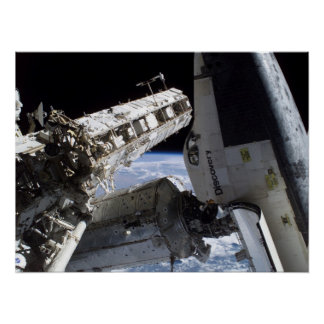 Space Shuttle Discovery docked with ISS (STS-114) Poster