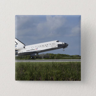 Space shuttle Discovery lands on Runway 33 15 Cm Square Badge