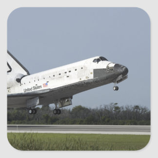Space shuttle Discovery lands on Runway 33 2 Square Sticker
