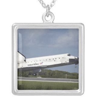 Space shuttle Discovery lands on Runway 33 3 Square Pendant Necklace