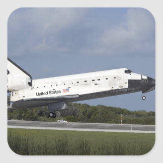 Space shuttle Discovery lands on Runway 33 3 Square Sticker
