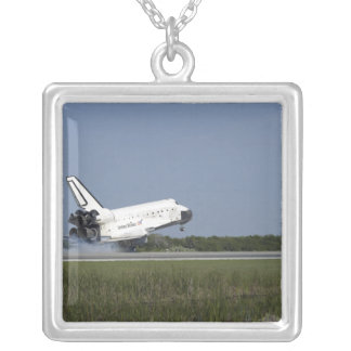 Space shuttle Discovery lands on Runway 33 4 Square Pendant Necklace