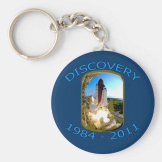 Space Shuttle Discovery Launch Basic Round Button Key Ring