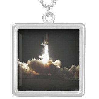 Space shuttle Discovery lifts off Silver Plated Necklace