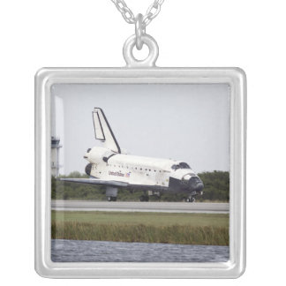 Space Shuttle Discovery on the runway Square Pendant Necklace
