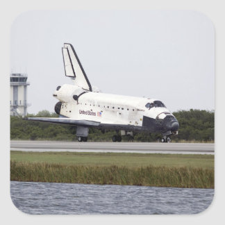 Space Shuttle Discovery on the runway Square Sticker