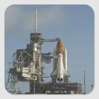 Space Shuttle Discovery sits ready 2 Square Sticker