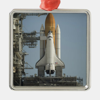 Space Shuttle Discovery sits ready Silver-Colored Square Decoration