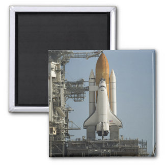 Space Shuttle Discovery sits ready Square Magnet