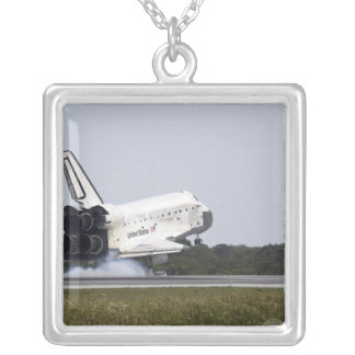 Space Shuttle Discovery touches down 2 Square Pendant Necklace