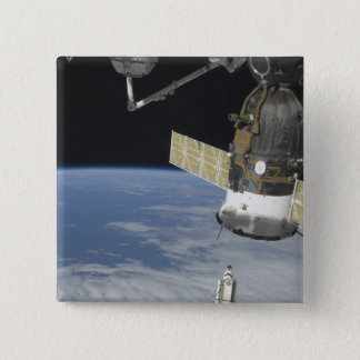 Space shuttle Endeavour, a Soyuz spacecraft 15 Cm Square Badge
