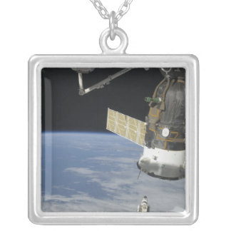 Space shuttle Endeavour, a Soyuz spacecraft Silver Plated Necklace