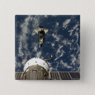 Space Shuttle Endeavour and a Soyuz spacecraft 15 Cm Square Badge