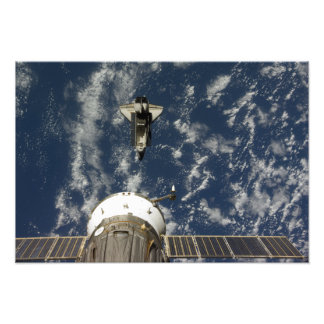 Space Shuttle Endeavour and a Soyuz spacecraft Photo Print