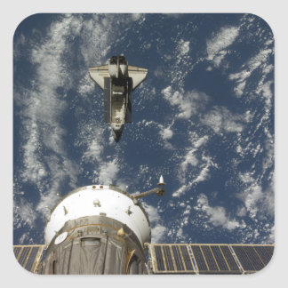 Space Shuttle Endeavour and a Soyuz spacecraft Square Sticker