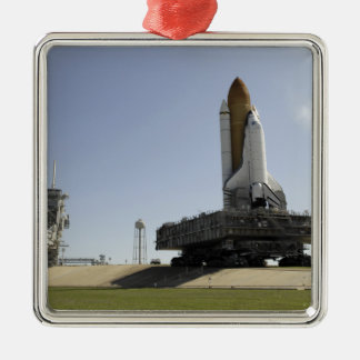 Space Shuttle Endeavour approaches the launch p Silver-Colored Square Decoration