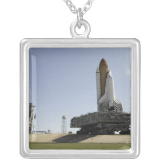 Space Shuttle Endeavour approaches the launch p Silver Plated Necklace