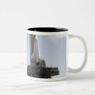 Space Shuttle Endeavour approaches the launch p Two-Tone Coffee Mug