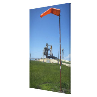 Space shuttle Endeavour is framed by a windsock Canvas Print