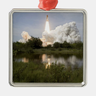 Space Shuttle Endeavour lifts off 7 Silver-Colored Square Decoration