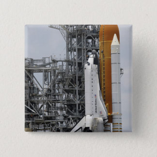 Space Shuttle Endeavour on the launch pad 2 15 Cm Square Badge