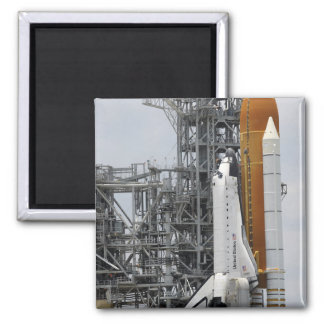 Space Shuttle Endeavour on the launch pad 2 Square Magnet