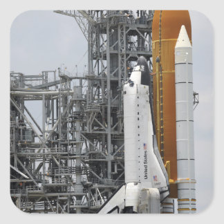 Space Shuttle Endeavour on the launch pad 2 Square Sticker