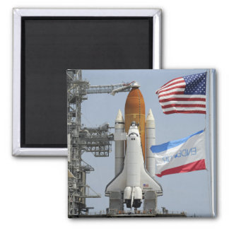 Space Shuttle Endeavour on the launch pad 3 Square Magnet