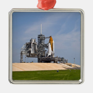 Space Shuttle Endeavour on the launch pad 4 Silver-Colored Square Decoration