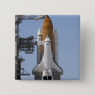 Space Shuttle Endeavour sits ready 15 Cm Square Badge
