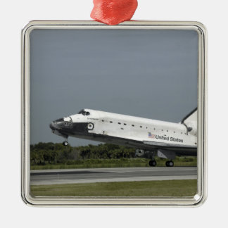 Space Shuttle Endeavour touches down Silver-Colored Square Decoration