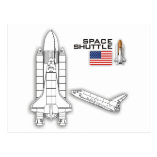 Space Shuttle Illustration Post Cards