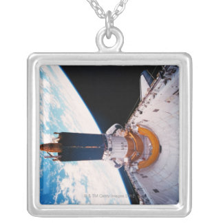 Space Shuttle in Orbit 2 Silver Plated Necklace