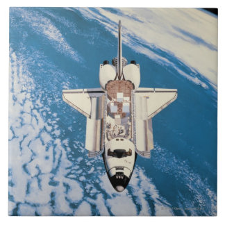 Space Shuttle in Orbit Large Square Tile