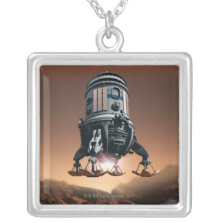 Space Shuttle Landing 3 Silver Plated Necklace