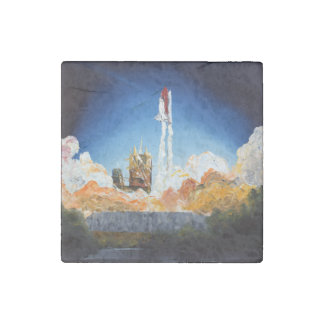 Space Shuttle Launch Stone Magnet