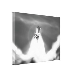 Space Shuttle Launch Illustration Gallery Wrap Canvas
