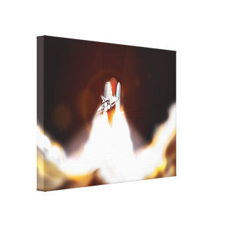 Space Shuttle Launch Illustration Gallery Wrapped Canvas